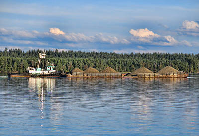 Photograph - Tug Boat And Barge by Ron Roberts