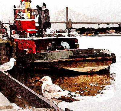 Painting - Tug Boat And Gulls In Savannah by Daniel Bonnell