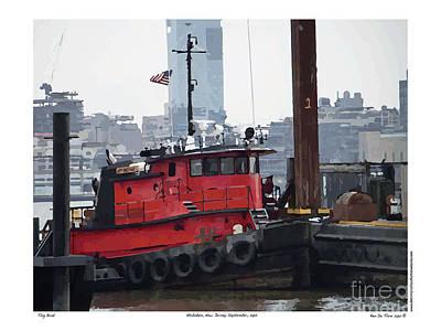 Art Print featuring the digital art Tug Boat B by Kenneth De Tore
