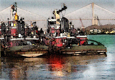 Painting - Tug Boats In Savannah by Daniel Bonnell