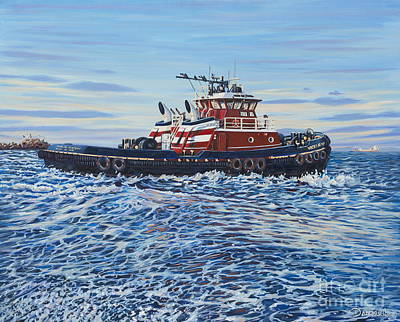 Tug Boat Painting - Tug Of The Ocean by Danielle  Perry