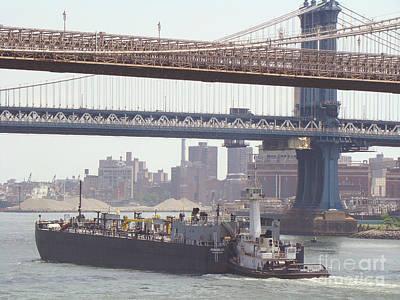 Island Art Digital Art - Tug Pushing Tanker - East River New York by Anthony Morretta