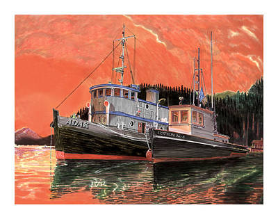 Classic Marine Art Painting - Tugboat Adak  Red Sky Warning by Jack Pumphrey