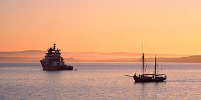 Tugboat And A Tall Ship In The Baie De Art Print by Panoramic Images