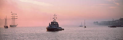 Tugboat And Tall Ships In The Ocean Art Print by Panoramic Images