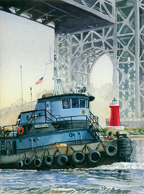 Tugboat Wall Art - Painting - Tugboat And The Little Red Lighthouse by Marguerite Chadwick-Juner