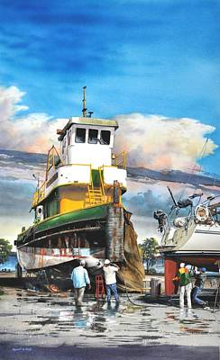 Painting - Tugboat Brown Gulf by Robert W Cook