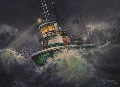 Tug Boat Painting - Tugboat In Trouble by Tom Shropshire