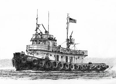 Northwest Drawing - Tugboat Iver Foss by James Williamson
