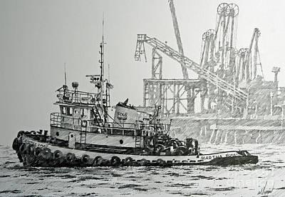 Martha Drawing - Tugboat Martha Foss by James Williamson