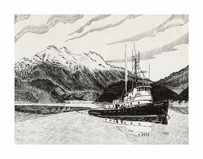 Skagit Drawing - Skagit Chief Tugboat by Jack Pumphrey