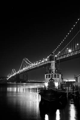 Tugboat Under The Bay Bridge Art Print