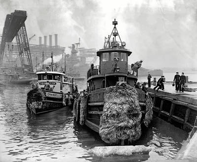 Tugboat Wall Art - Photograph - Tugboat Winter  1946 by Daniel Hagerman