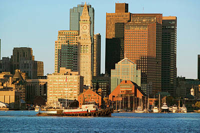 Custom House Tower Photograph - Tugboat With Boston Harbor by Panoramic Images