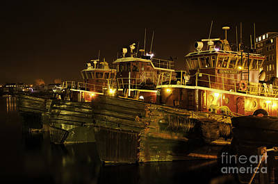 Photograph - Tugboats 1st Night Dec 2013 by Sharon Seaward