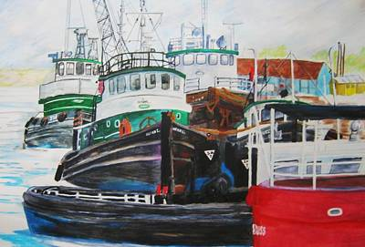 Bouys Painting - Tugs At Sturgeon Bay by Kathleen Barlament