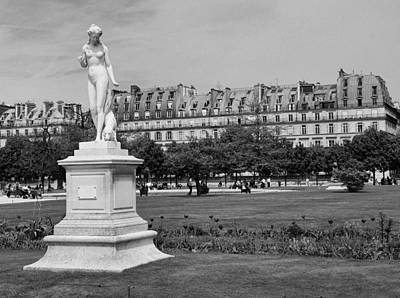 Photograph - Tuileries Gardens Black And White by Allen Beatty