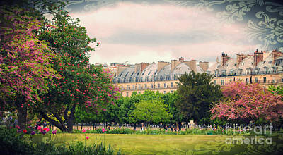 Photograph - Tuileries Gardens With Damask Texture by Heidi Hermes