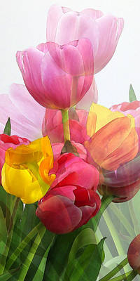 Vertical Tulips 2 Art Print by Rene Sheret