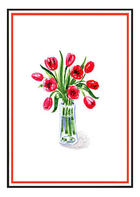 Tulips Watercolor Wall Art - Painting - Tulip Bouquet by Irina Sztukowski