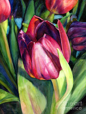 Red Tulip Painting - Tulip Delight by Hailey E Herrera