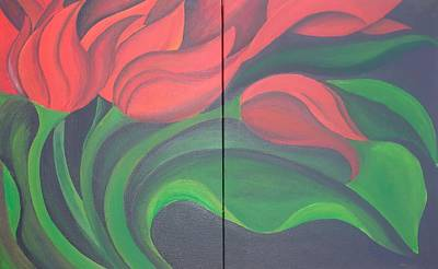 Painting - Tulip Diptych by Taiche Acrylic Art