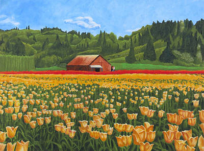 Drawing - Tulip Farm by Dominic White