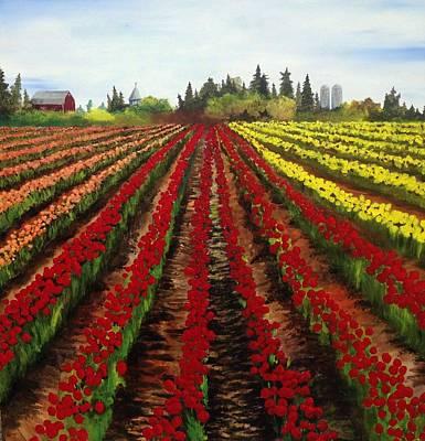 Skagit Painting - Tulip Field by Tim Loughner
