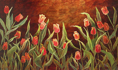 Painting - Tulip Garden by Vic  Mastis