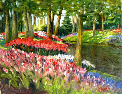 Art Print featuring the painting Tulip Gardens by Lori Ippolito