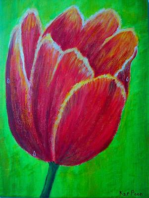 Tulip In Bloom Art Print by Kat Poon