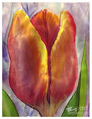 Haitian Painting - Tulip-orange by Jean-Marie Poisson