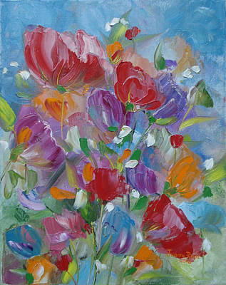 Art Print featuring the painting Tulip Symphony by Judith Rhue