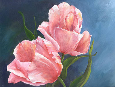 Art Print featuring the painting Tulip Waltz by Sherry Shipley
