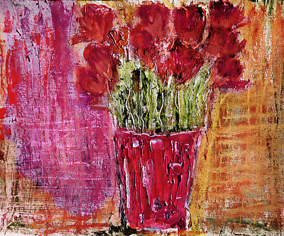 Art Print featuring the painting Tulipes Rouges by Linde Townsend