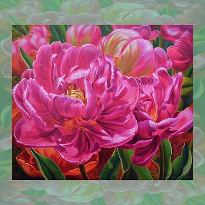 Tulipomania 8 Magenta Triumph With Border Original by Fiona Craig