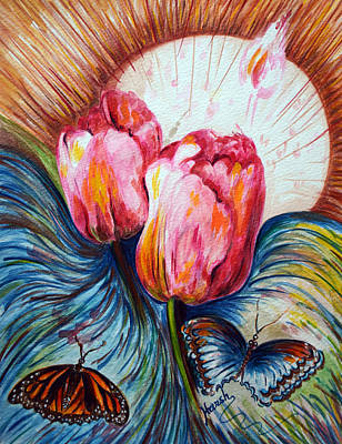 Landscape Painting - Tulips And Butterflies by Harsh Malik