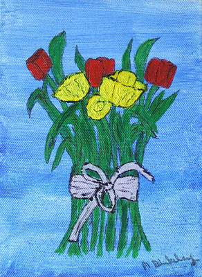 Art Print featuring the painting Tulips And Daffodils by Martin Blakeley