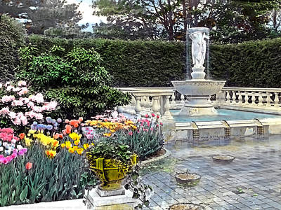 Realistic Photograph - Tulips And Fountain by Terry Reynoldson
