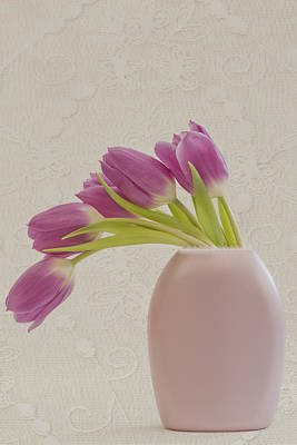 Tulips And Lace Art Print by Sandra Foster
