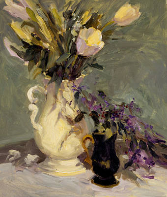 Pitcher Painting - Tulips And Lavender by Allayn Stevens