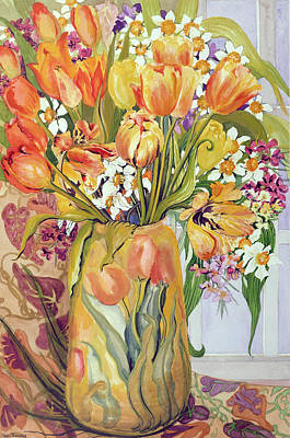 Tulips Watercolor Wall Art - Painting - Tulips And Narcissi In An Art Nouveau Vase by Joan Thewsey