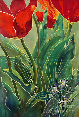 Dye-painted Painting - Tulips And Pushkinia by Anna Lisa Yoder