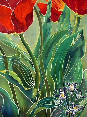 Dye-painted Painting - Tulips And Pushkinia Detail by Anna Lisa Yoder