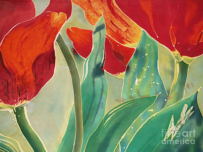 Dye-painted Painting - Tulips And Pushkinia Upper Detail by Anna Lisa Yoder