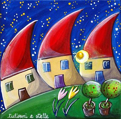 Roofs Painting - Tulips And Stars by Loris Bagnara