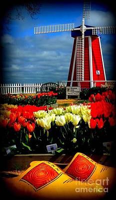 Tulips And Windmill Art Print by Susan Garren
