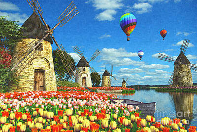 Field Digital Art - Tulips And Windmills by Dominic Davison