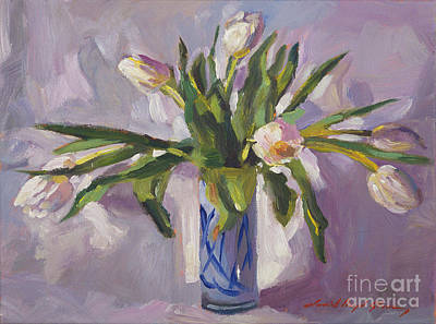 Traditional Still Life Painting - Tulips At Springtime by David Lloyd Glover