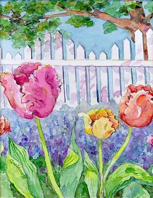 Painting - Tulips At The Fence by Kathleen  Gwinnett